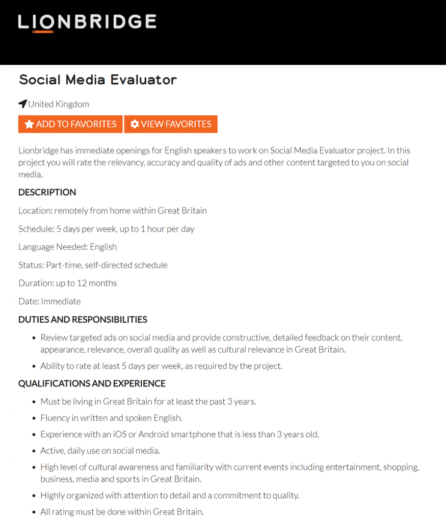 Lionbridge social media evaluator