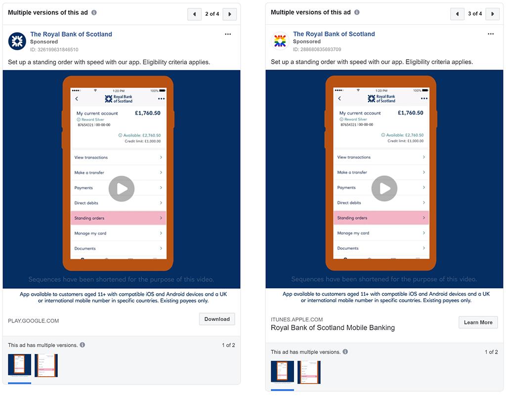 RBS Facebook ads