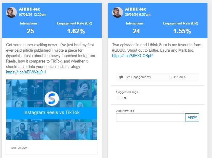 Social analytics - posts