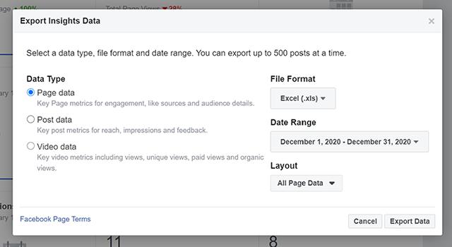 Facebook Insights data export