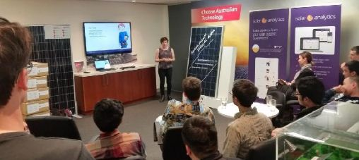 Catherine O'Neill gives her end-of-placement talk to a packed house at Solar Analytics