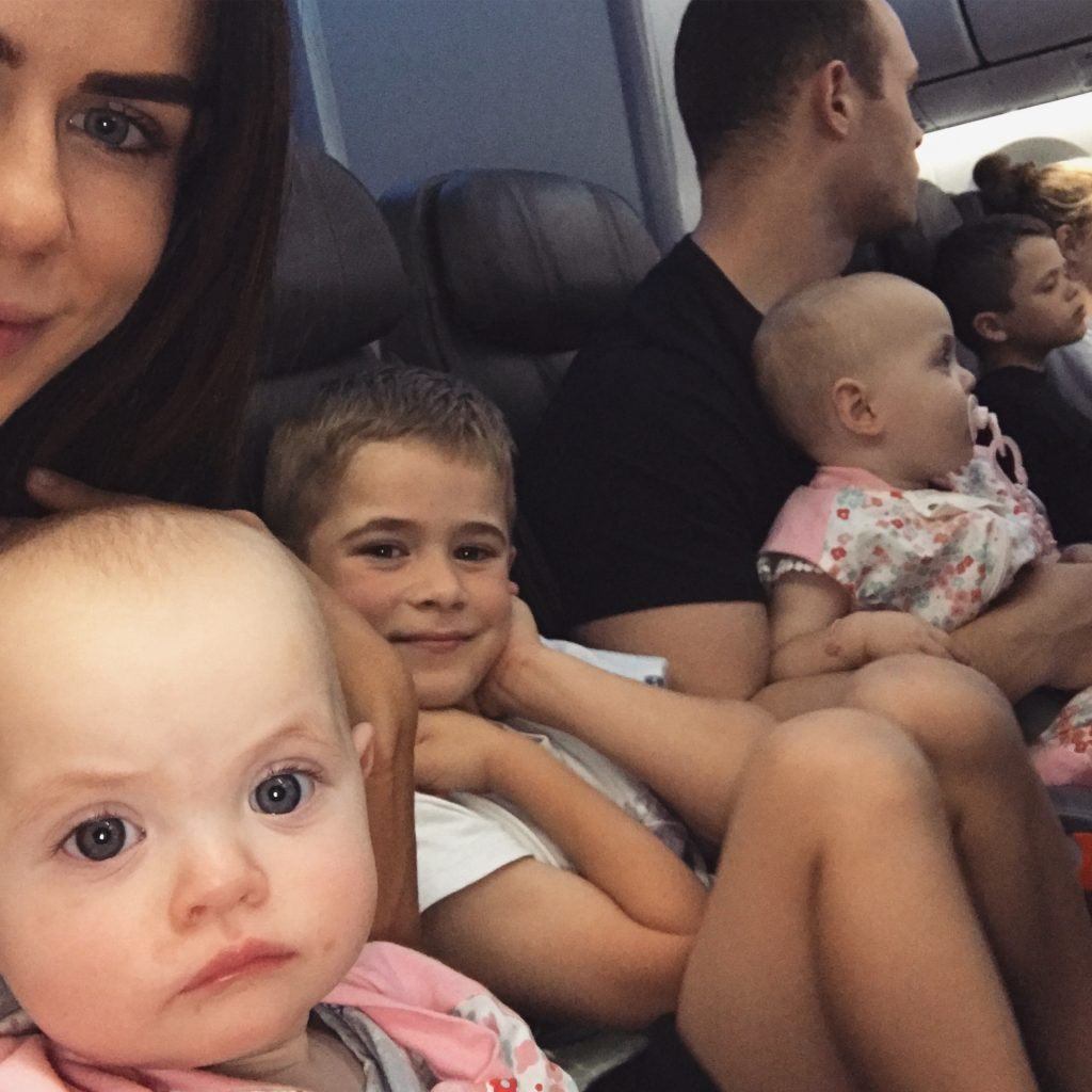 Sophie Guidolin and family on the plane on the way to Bali