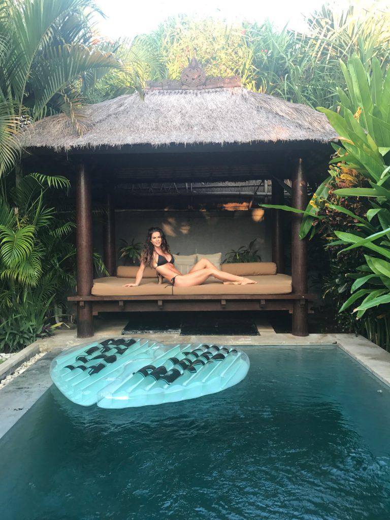 Sophie Guidolin at Villa Saudara in Bali wearing a black bikini
