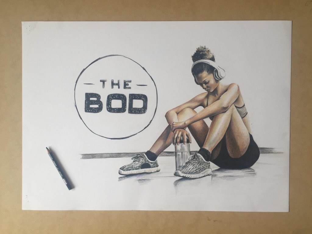 The Bod logo drawing with girl wearing headphones