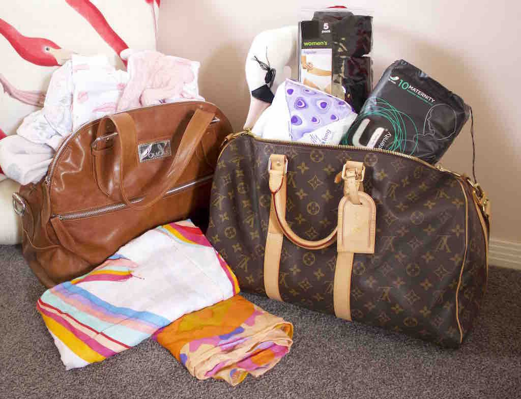 Louis Vuitton and designer hospital bags