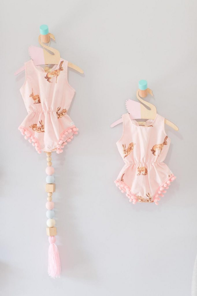 Twins baby rompers with pink bunnies