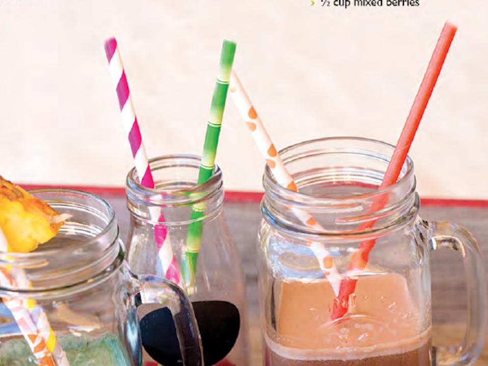 Delicious smoothies with different colours