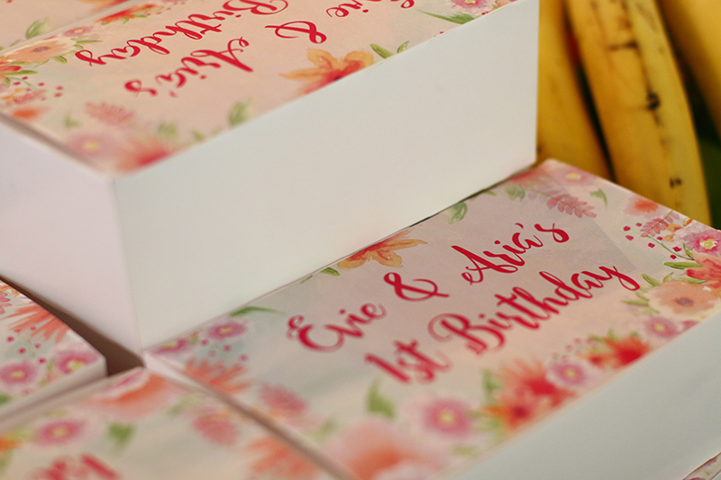 Birthday party gifts in cute floral boxes