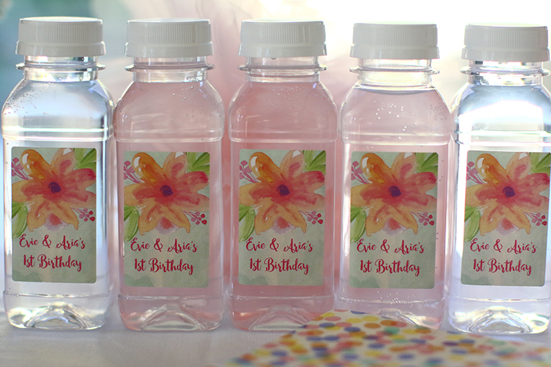 Personalised water bottles for baby girl birthday party