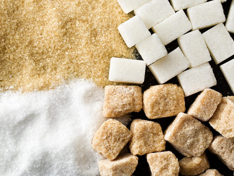 Top view of sugar in different categories