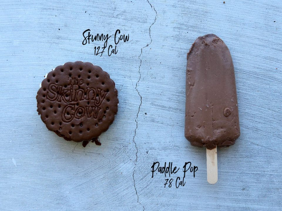 Skinny cow ice cream and chocolate paddle pop lying flat