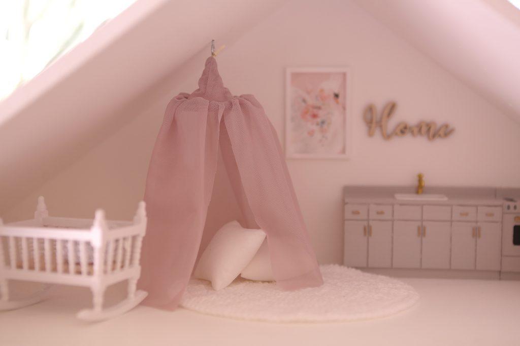 Dollhouse canopy with pink and rose gold