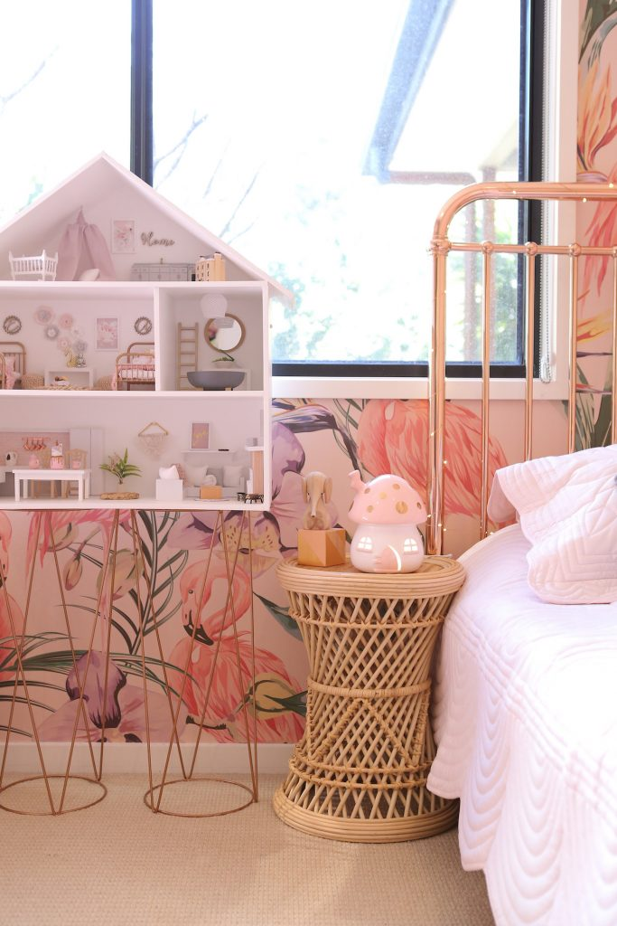 Pink dollhouse and girly bedside table