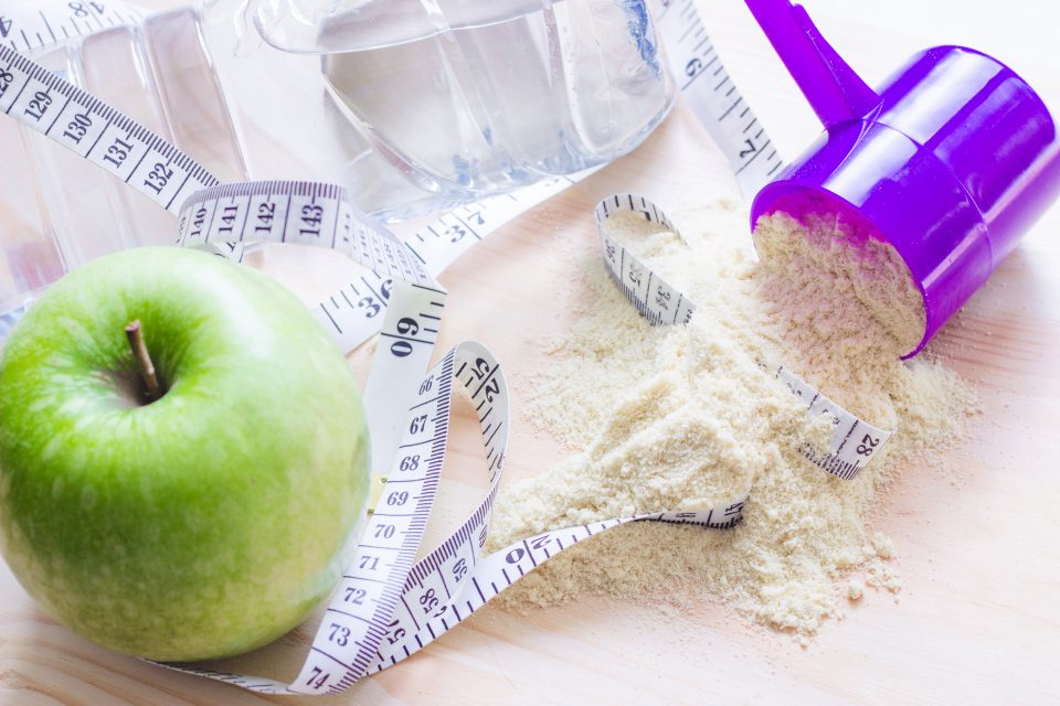 Protein powder and measuring tape