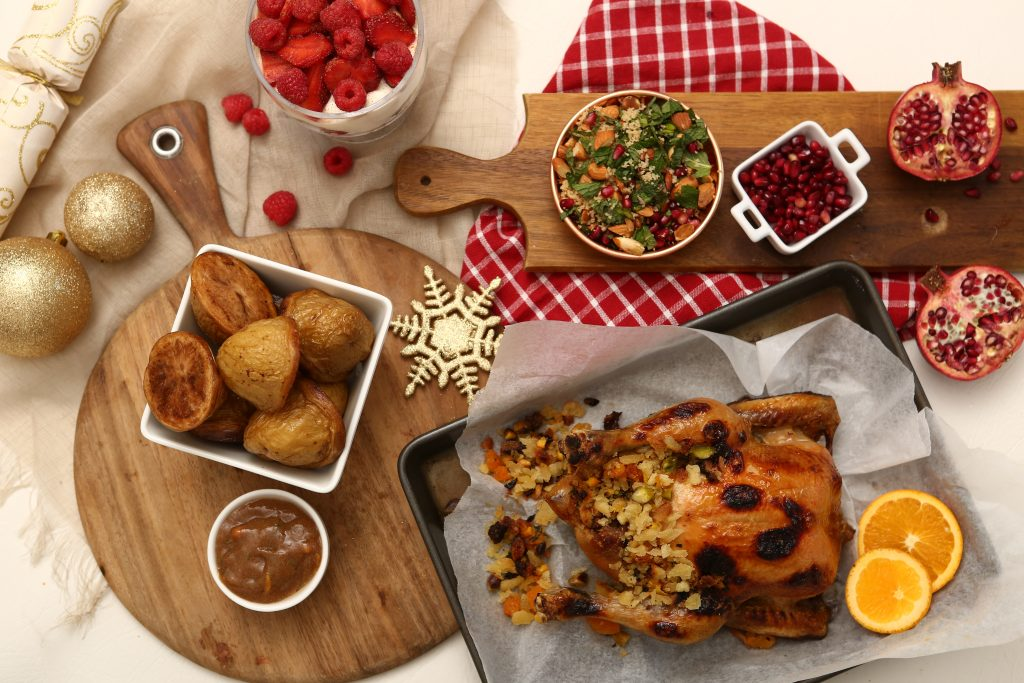 12 Days of Christmas feast with roast chicken, potatoes and salas