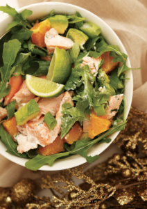 Poached salmon and mango salad from 12 days of christmas recipe book