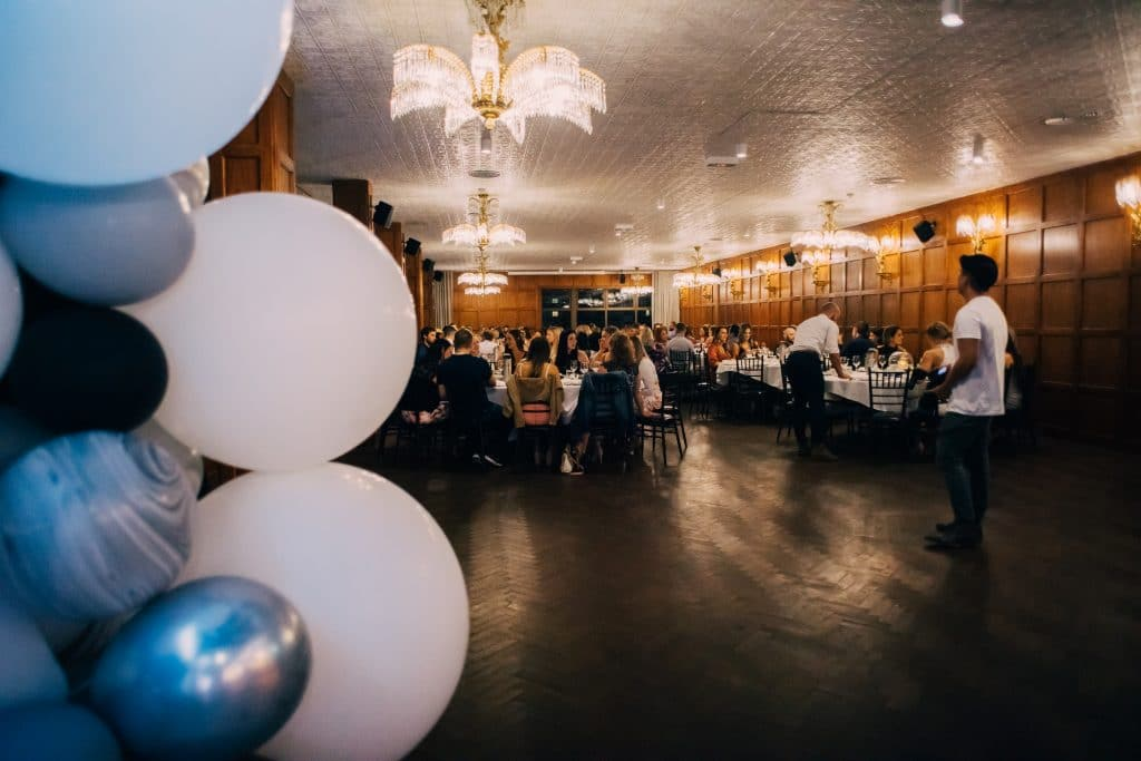 THE BOD after party white and black balloon garland