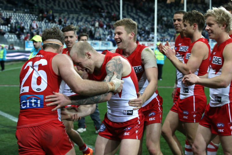 Luke Parker Zac Jones& Dan Hannebery celebrate the win