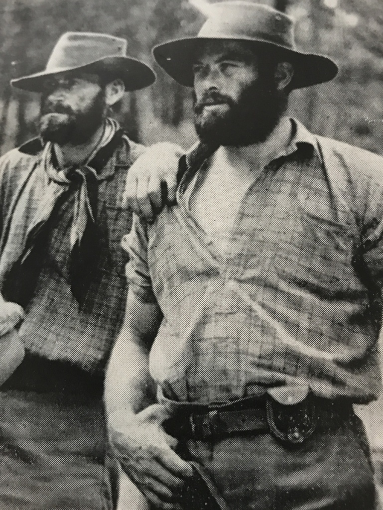 Bob Chitty (right) playing Ned Kelly.