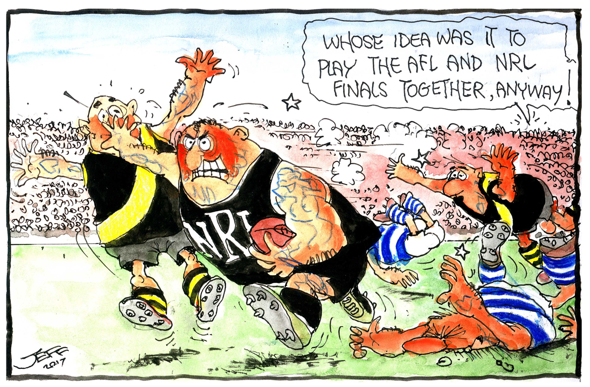 Jeff foresees chaos when the footy codes clash.