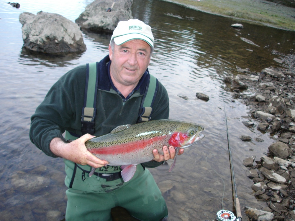 Noted fly tyer and fishing guide Mick Hall nymphing on the Rubicon River at Eildon.