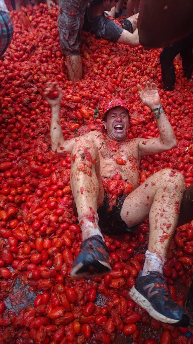 Colin Dale up to his neck in the tomato war