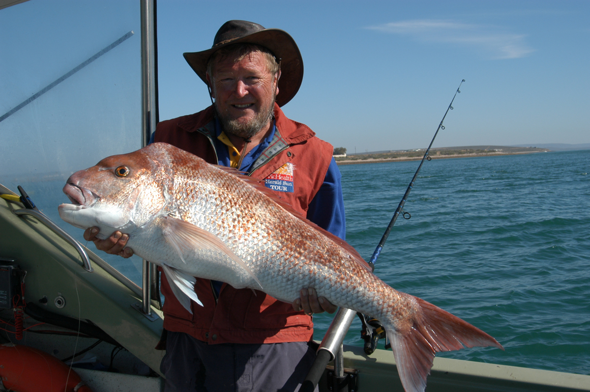 Steve Cooper with a 15kg plus snapper, the highlight of a 50-year career as a Snapper Bum.