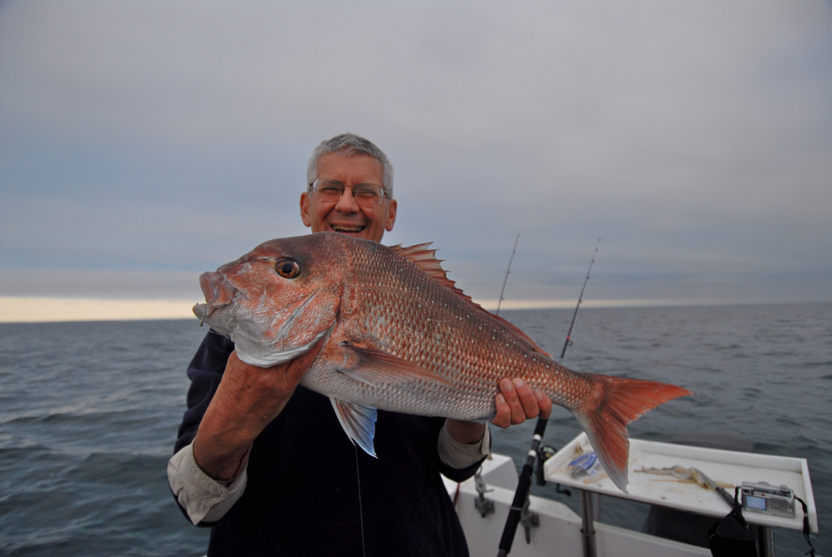Ross Winstanley shows off a 6kg snapper caught off Portarlington.