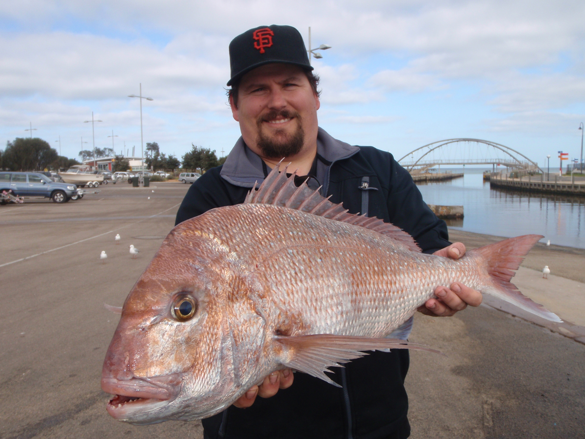 Alex Greer with a 4.1kg snapper caught off Frankston