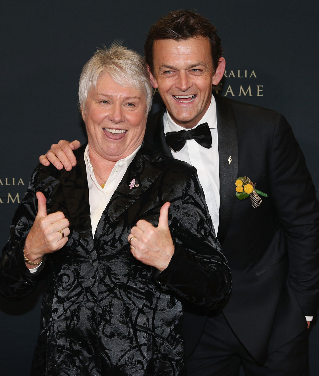 Raelene Boyle poses with Adam Gilchrist at the Sport Australia Hall of Fame Annual Induction and Awards Gala Dinner. Pic: Michael Dodge/Getty Images
