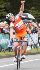 "The ecstatic New South Welshman Joel Pearson makes it a ""Warrnambool"" massed-start double in 2011. (Courtesy The Standard)."