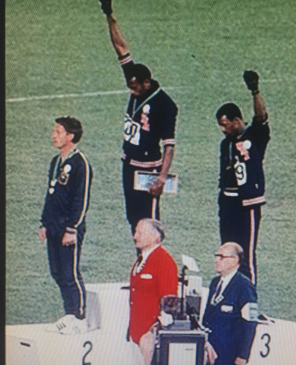 Peter Norman on the protest dais