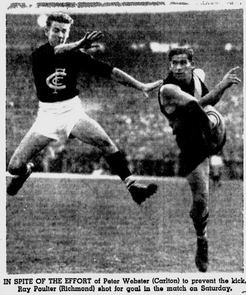 The Age 3-May-1954 p13 Ray Poulter Richmond Peter Webster Carlton