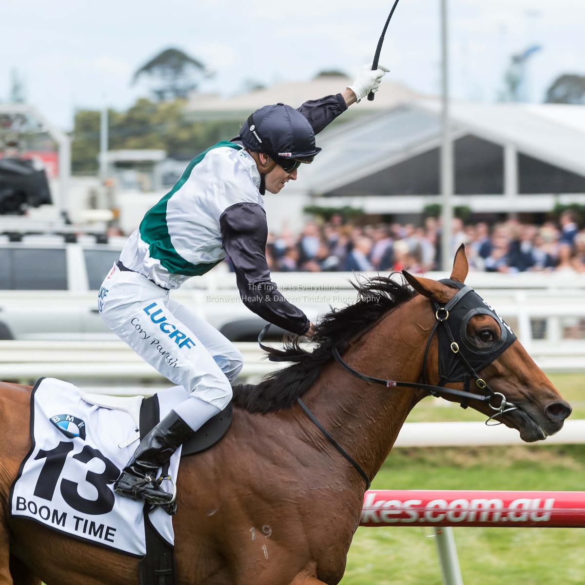 Boom Time ridden by Corey Parish wins the BMW Caulfield Cup. Pic: Darren Tindale / The Image is Everything.