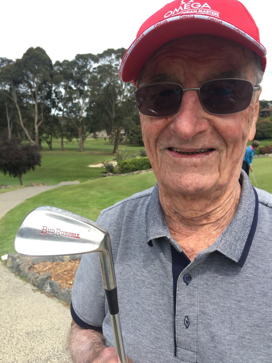 Latrobe veteran Bill Barnett with his Bud Russell nine-iron