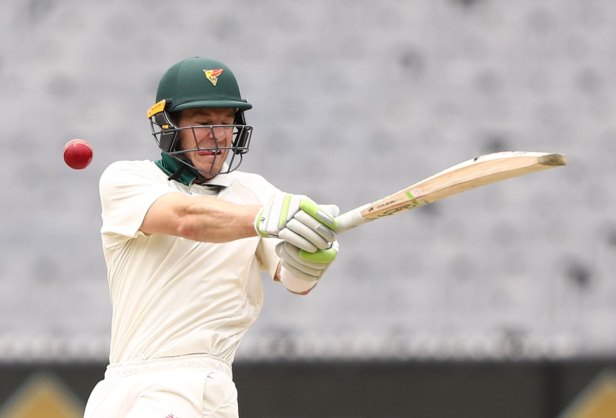 Tim Paine is struck by a delivery during the Sheffield Shield match between Victoria and Tasmania. Pic: Robert Cianflone/Getty Images
