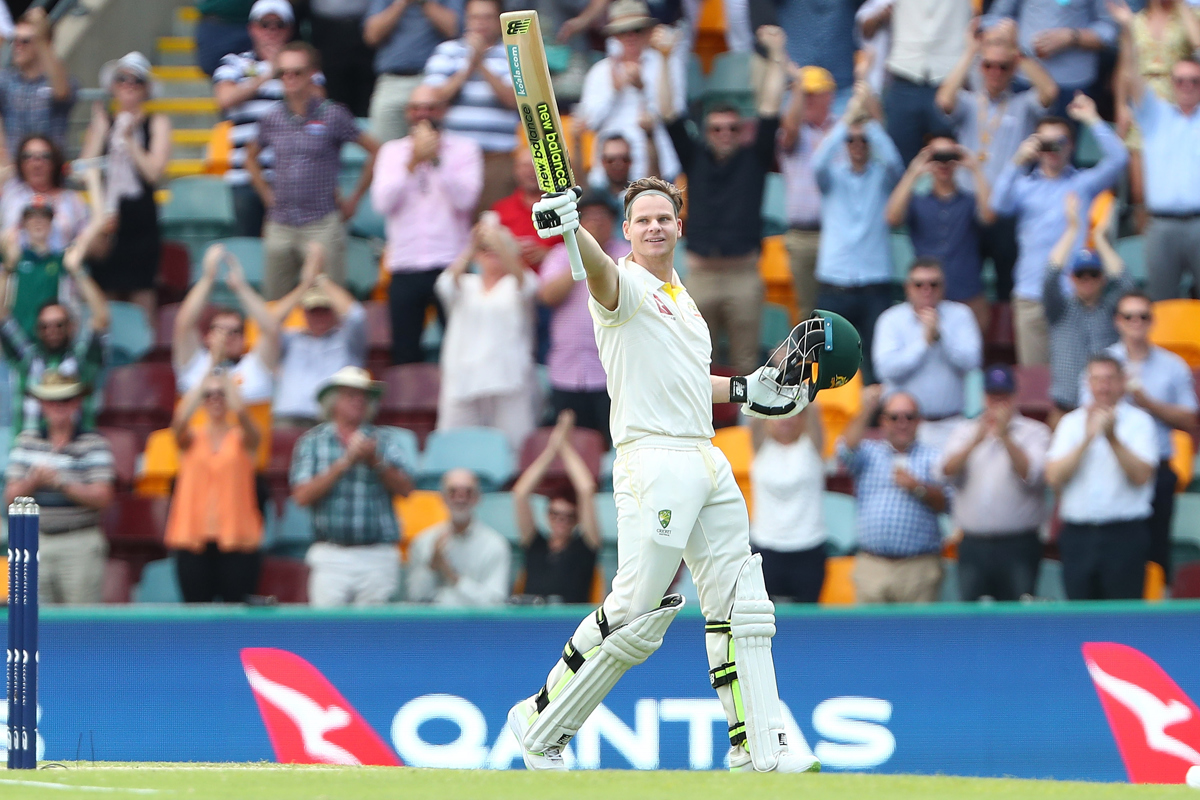 Steve Smith of Australia celebrates after reaching his century. Pic: Chris Hyde - CA/Cricket Australia/Getty Images