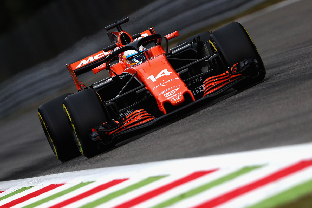 Fernando Alonso of Spain driving the McLaren Honda fitted with the halo on track during practice at Monza, Italy. Pic: Dan Istitene/Getty Images