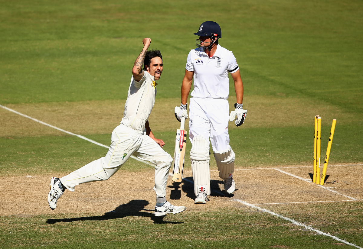 Mitchell Johnson celebrates after he took the wicket of Alastair Cook. Pic: Robert Cianflone/Getty Images