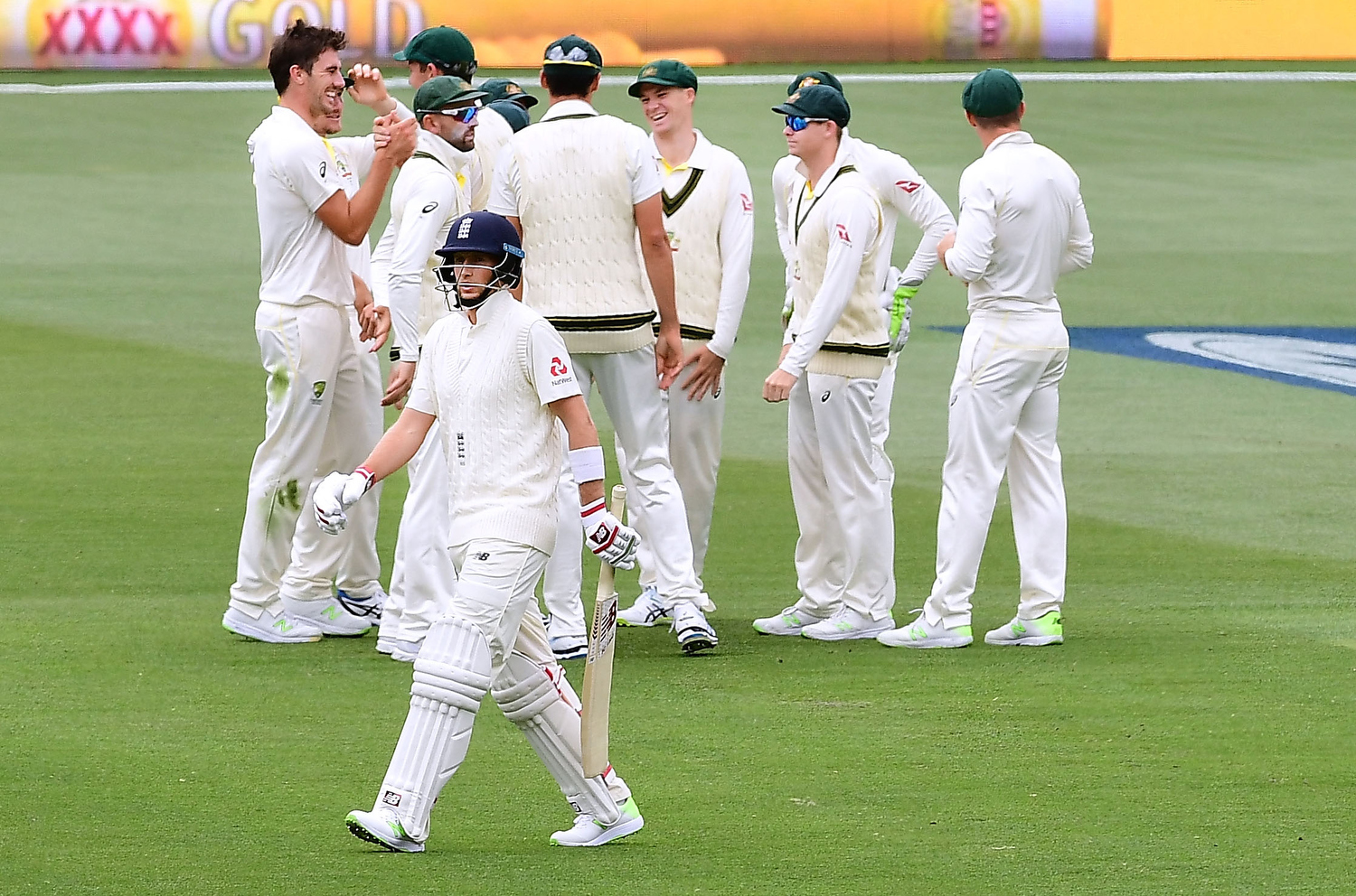 Australia celebrates after taking the wicket of Joe Root Pic: Mark Brake - CA/Cricket Australia/Getty Images
