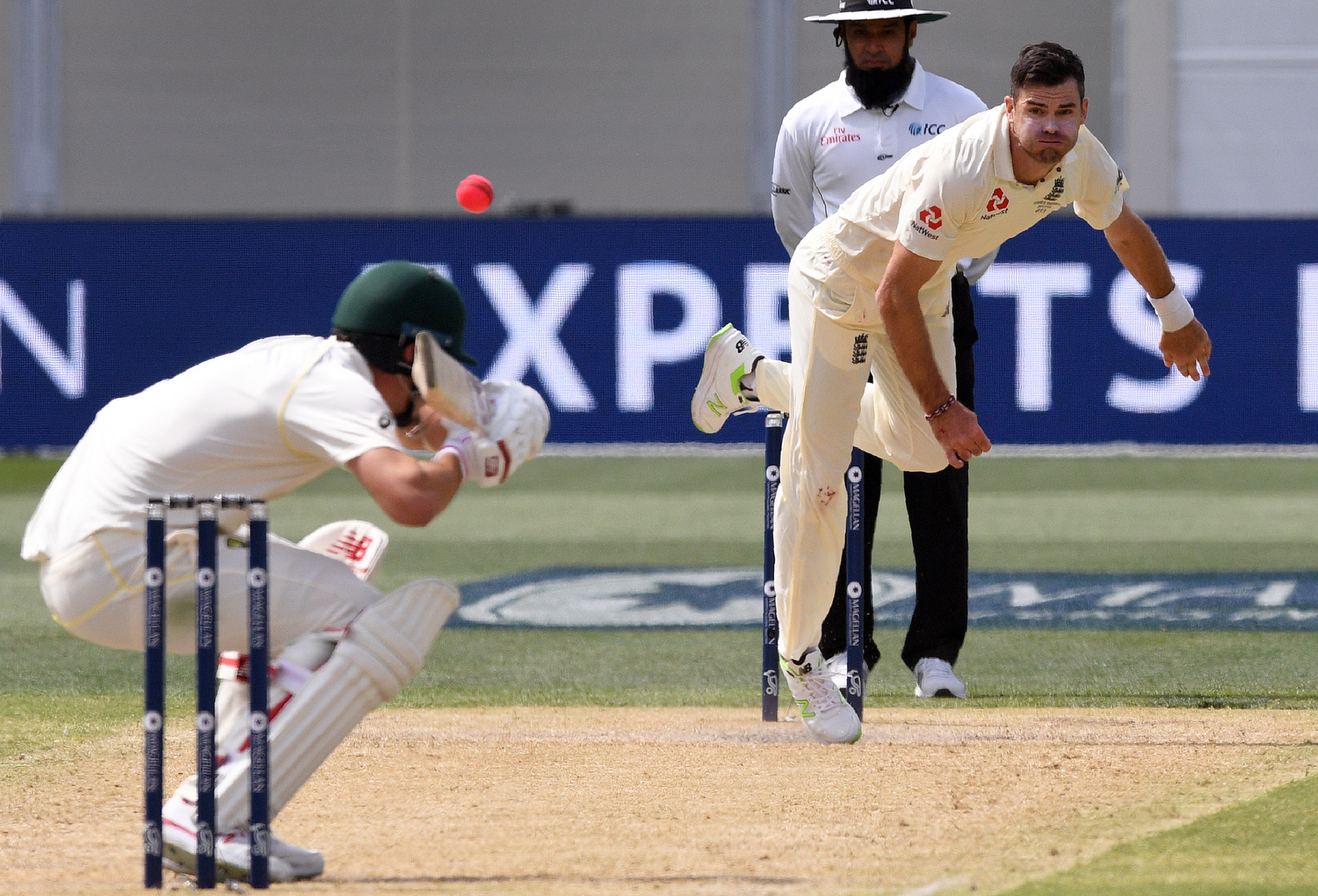 James Anderson sends down a bouncer to Pat Cummins. Pic: William West/AFP/Getty Images