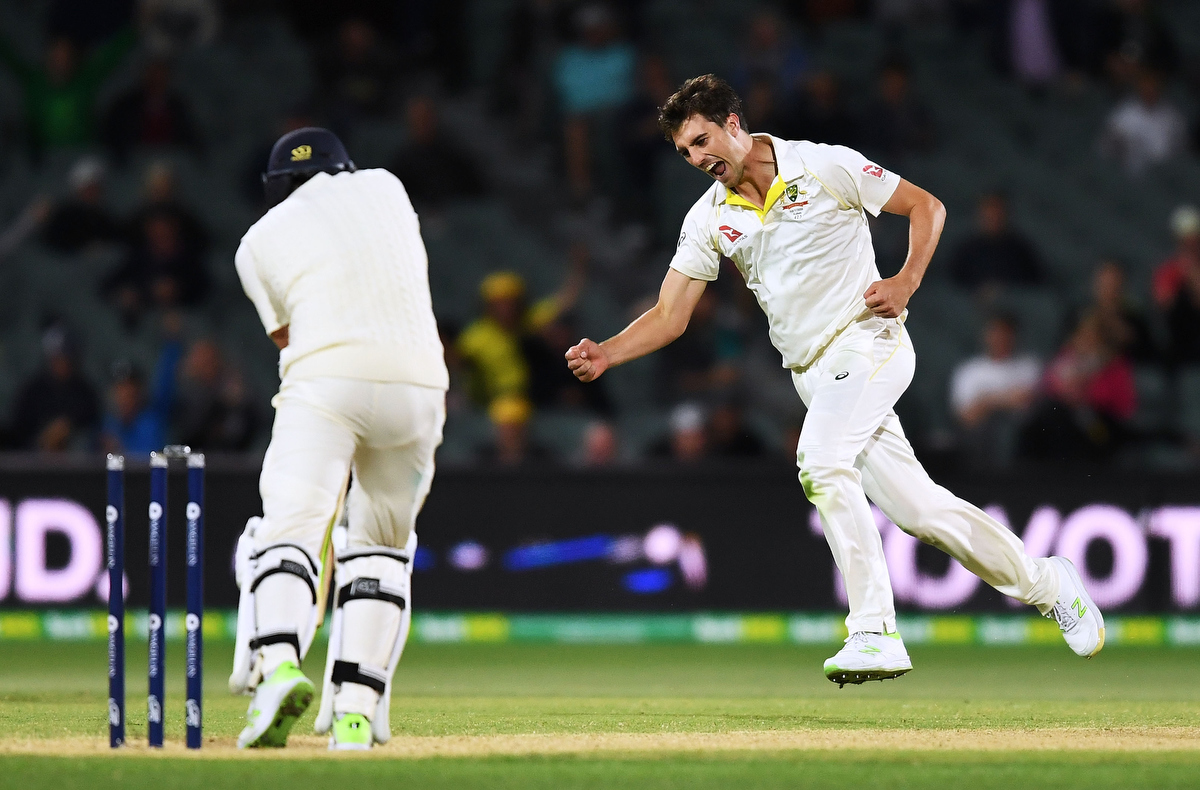 Pat Cummins celebrates after taking the wicket of Dawid Malan during the Second Test. Pic: Mark Brake - CA/Cricket Australia/Getty Images