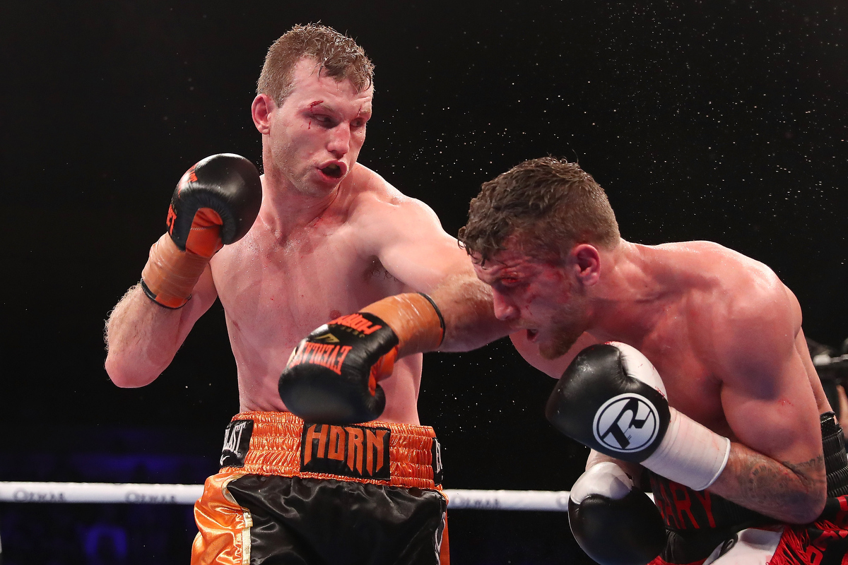 Jeff Horn punches Gary Corcoran during the WBO Welterweight Championship. Pic: Chris Hyde/Getty Images