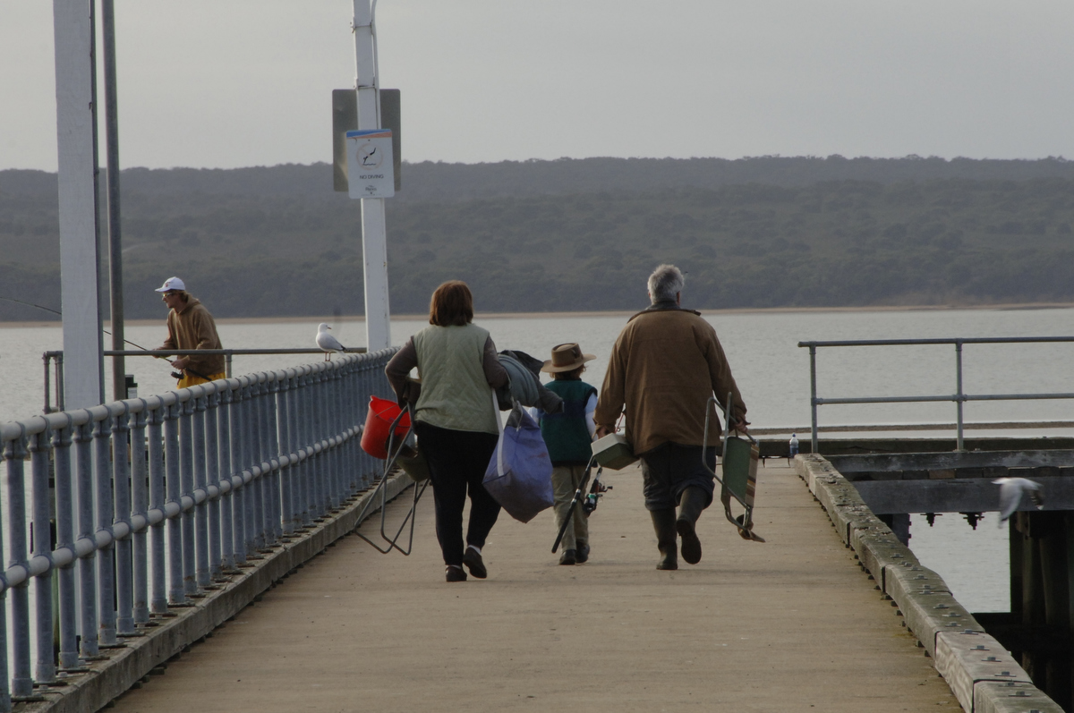 Families like to fish together at places like the pier at Corinella.
