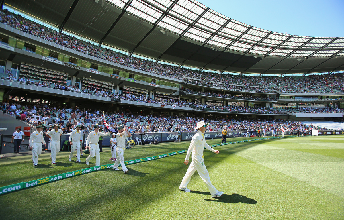 Michael Clarke of Australia leads his team onto the field. Pic: Scott Barbour/Getty Images