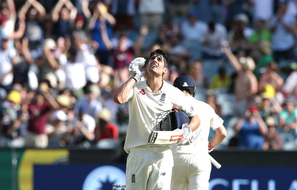 Alastair Cook looks to the sky after scoring his century