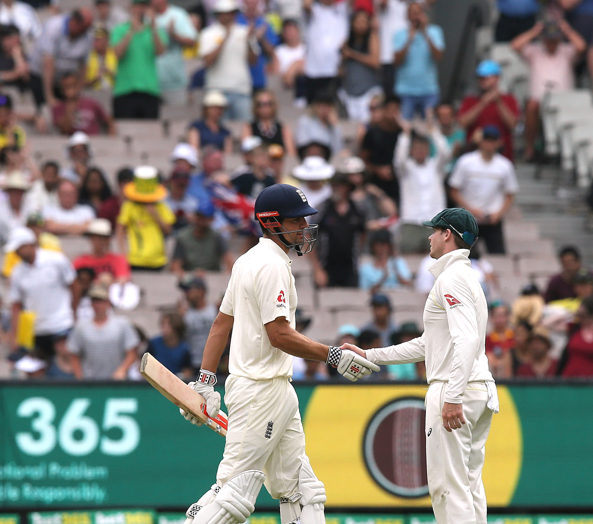 Alastair Cook covers for the batsmen who walked without