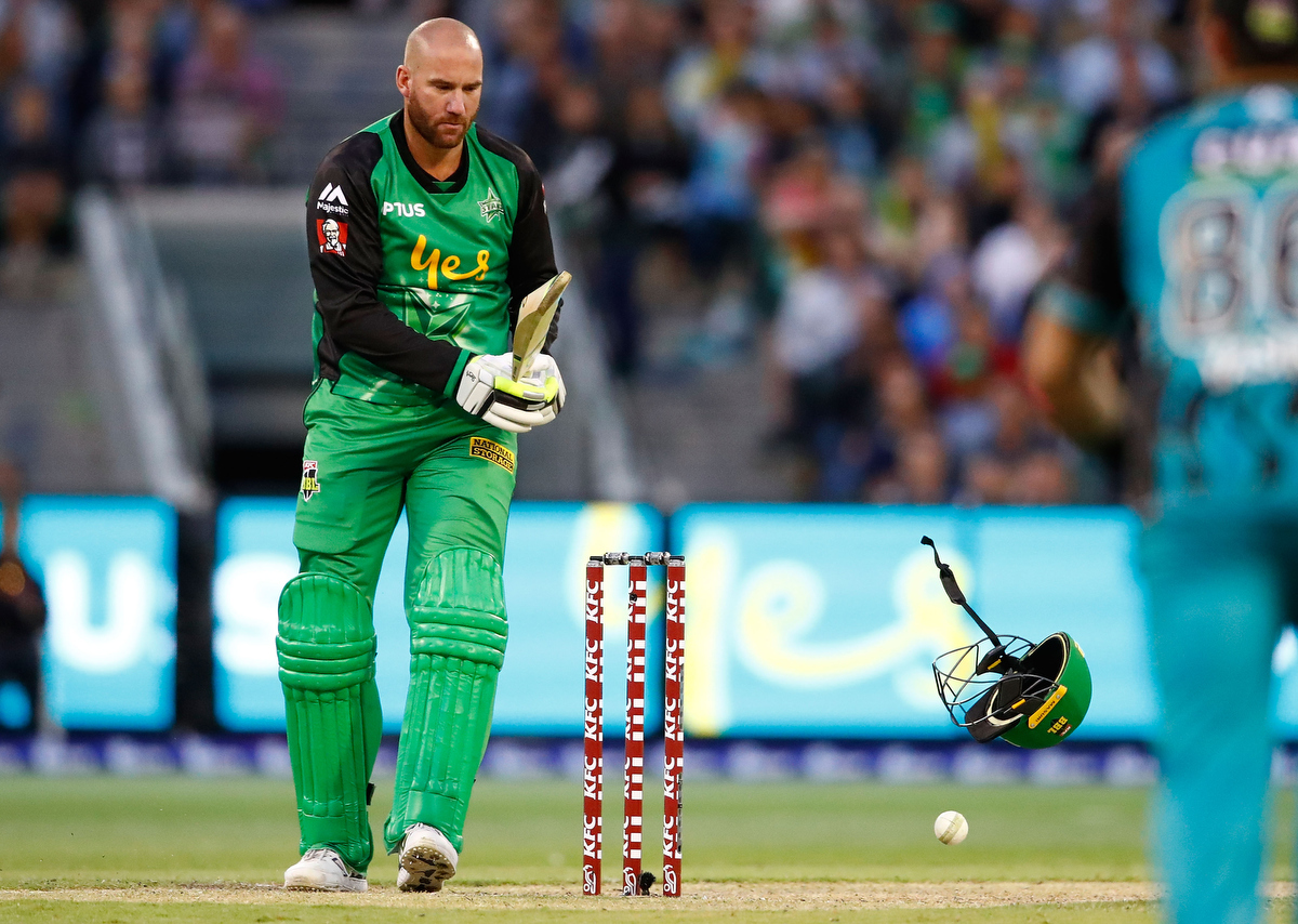John Hastings is hit by a bouncer bowled by Ben Cutting. Pic: Scott Barbour/Getty Images