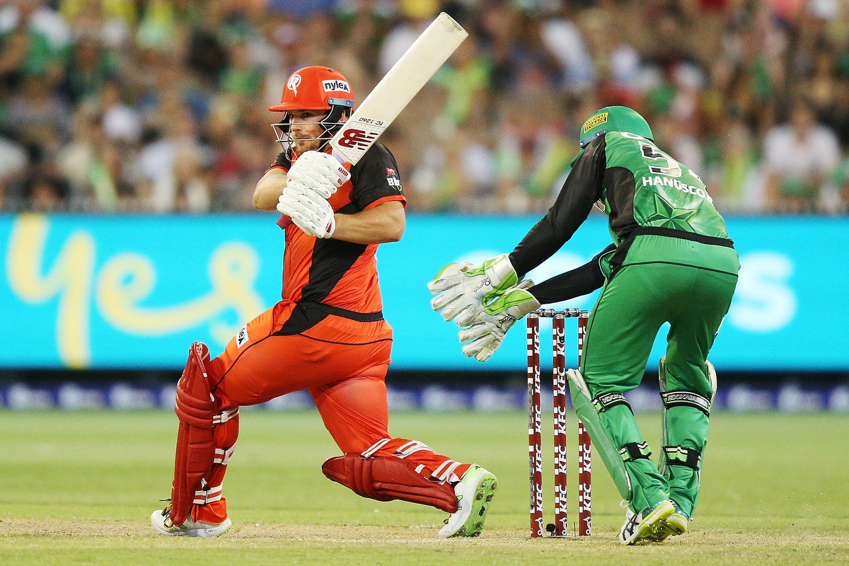 Aaron Finch of the Renegades bats during the match against Melbourne Stars.  Pic: Michael Dodge/Getty Images