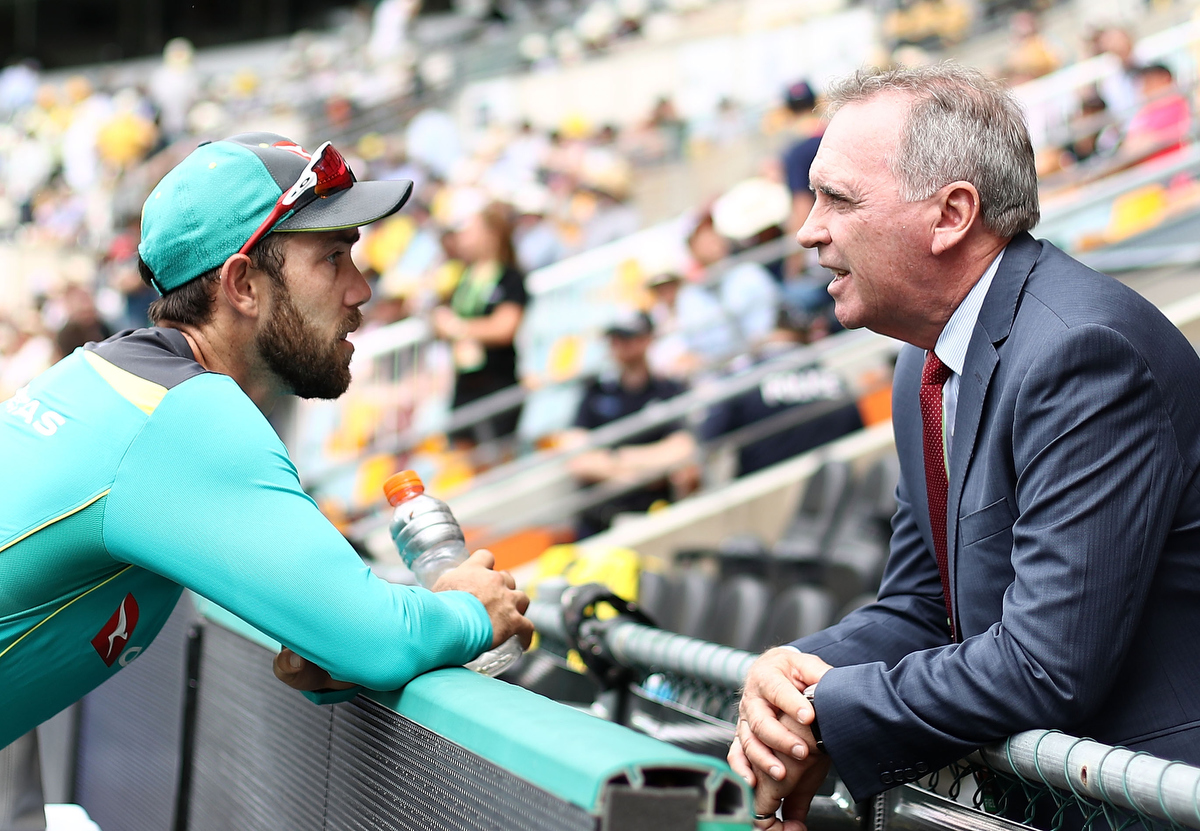 Glenn Maxwell speaks with Chairman of Selectors, Trevor Hohns. Pic: Ryan Pierse/Getty Images